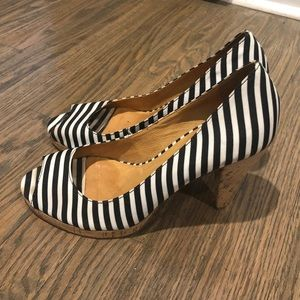 Michael Kors Striped Nautical Cork Peep Toe Heels